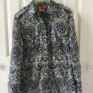 Tory Burch Printed blue/white shirt US0